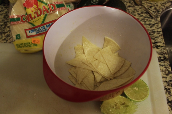 Corn Tortilla Chips Prepped